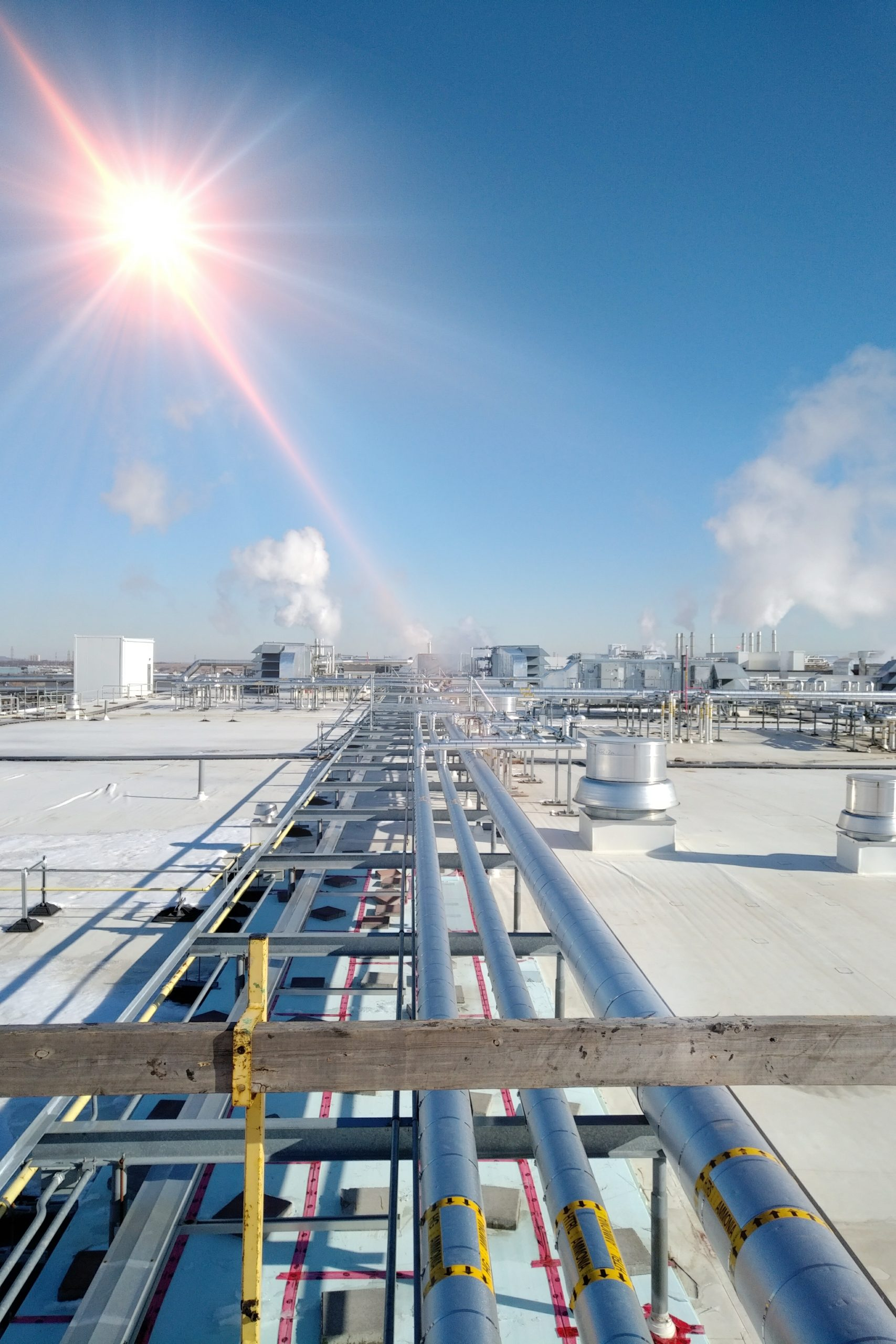 Ammonia piping spans a new membrane roof.Steam can be seen billowing from exhaust stacks. clear blue sky
