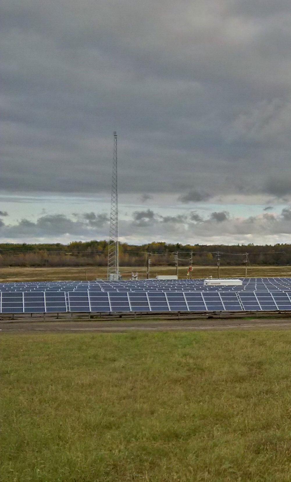 solar panels transmission lines to Honi grid